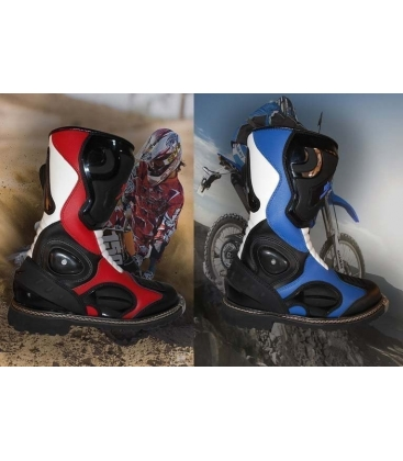 Boots off road red or blue