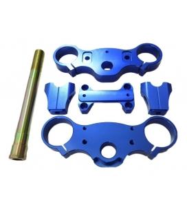 Triple clamps assy 170mm CNC BLUE