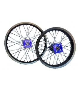 Llantas 17/14 de aluminio con buje CNC azul