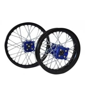 Pair alloy wheel dirt bike 14/12 cnc hubs blue