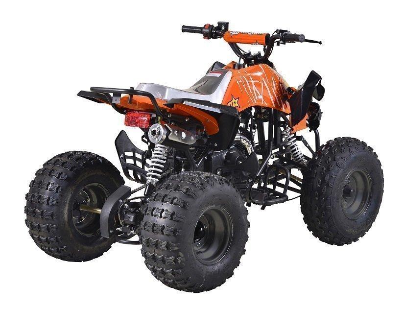 miniquad infantil malcor color naranja con motor de 110cc 4 tiempos